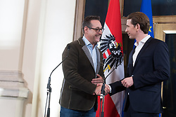 15.12.2017, Palais Epstein, Wien, AUT, Koalitionsverhandlungen von ÖVP und FPÖ anlässlich der Nationalratswahl 2017, im Bild FPÖ-Klubobmann Heinz-Christian Strache und ÖVP-Klubobmann Sebastian Kurz // Head of the Austrian Freedom Party (FPOe) Heinz-Christian Strache and Head of the Austrian Peoples Party (OeVP) Sebastian Kurz during coalition negotiations between the Austrian Peoples Party and Austrian Freedom Party due to general elections 2017 in Vienna, Austria on 2017/12/15, EXPA Pictures © 2017, PhotoCredit: EXPA/ Michael Gruber
