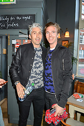 Left to right, GEORGE LAMB and JAMES COOK at a quiz night hosted by Zoe Jordan to celebrate the launch of her men's ZJKNITLAB collection held at The Larrick Pub, 32 Crawford Place, London on 20th April 2016.