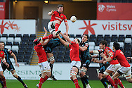 Munster's Donncha Ryan wins a line out ball.  Rabodirect Pro12 rugby, play off semi final, Ospreys v Munster at the Liberty Stadium in Swansea on Friday 11th May 2012.  pic by Andrew Orchard, Andrew Orchard sports photography,