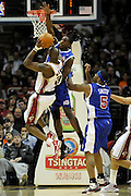 Jan 31, 2010; Cleveland, OH, USA; Los Angeles Clippers forward Al Thornton (12) and forward Craig Smith (5) try to block Cleveland Cavaliers forward Jawad Williams (31) during the second quarter at Quicken Loans Arena. Mandatory Credit: Jason Miller-US PRESSWIRE