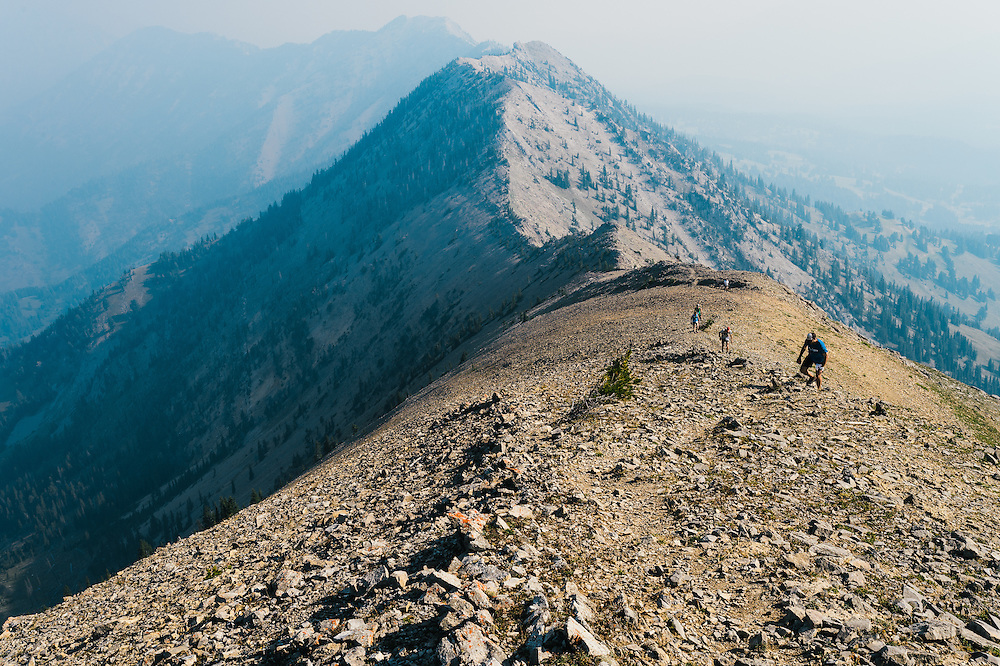 Runners make their way up Saddle Peak in the Bridger Range near Bozeman, MT during the 2015 Bridger Ridge Run