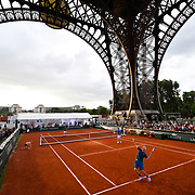 30.05.2018  Roland-Garros Tennis visits The Eiffel Tower in Paris France for a special legends exhibition doubles event on a court built beneath of the four legs of the Eiffel tower featuring John MeEnroe, Mansour Bahrami, Sergi Bruguera and Cedric Pioline