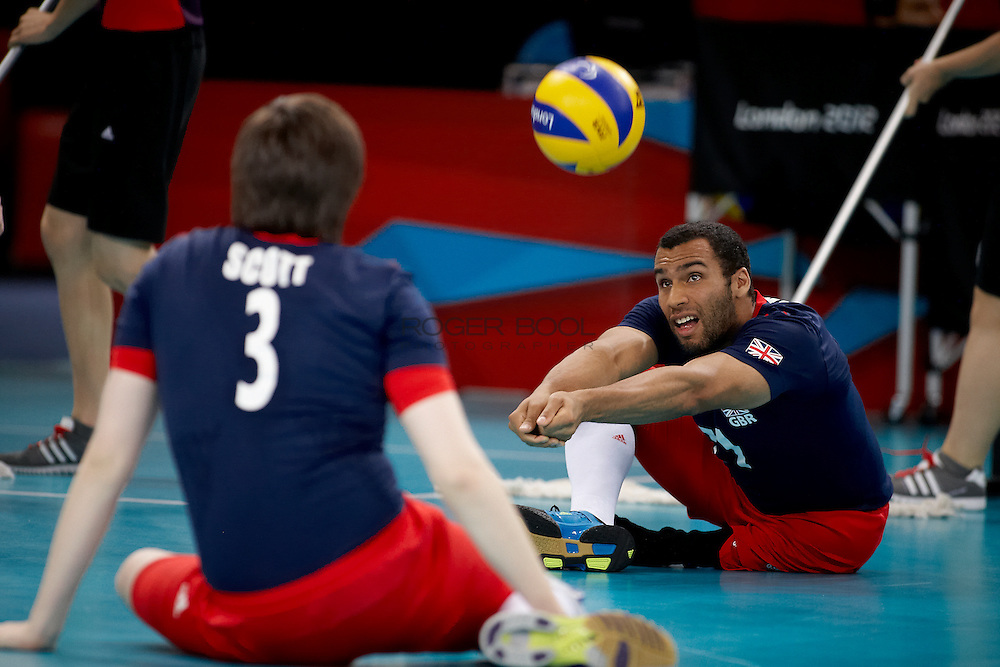 James Roberts and the Great Britain Men's sitting volleyball team loose to  Egypt at the Excel centre on day 2 of the London 2012 Paralympic Games. 31st August 2012