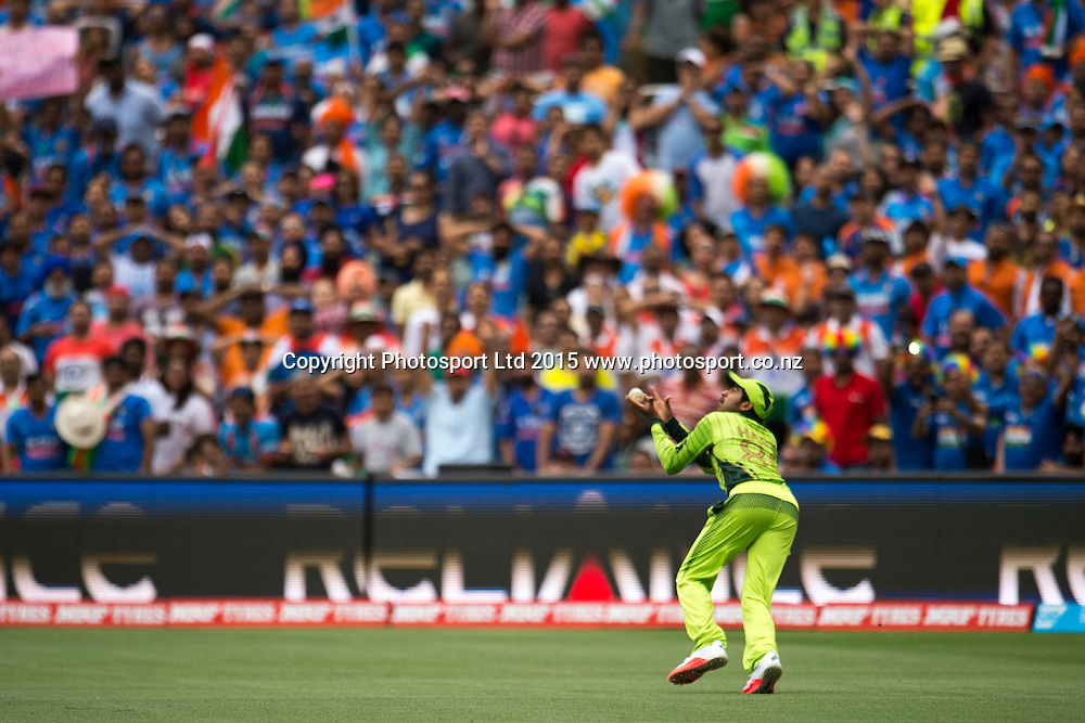 Pakistan player Haris Sohail takes Suresh Raina's catch during the ICC Cricket World Cup match between India and Pakistan at Adelaide Oval in Adelaide, Australia. Sunday 15 February 2015. Copyright Photo: Raghavan Venugopal / www.photosport.co.nz