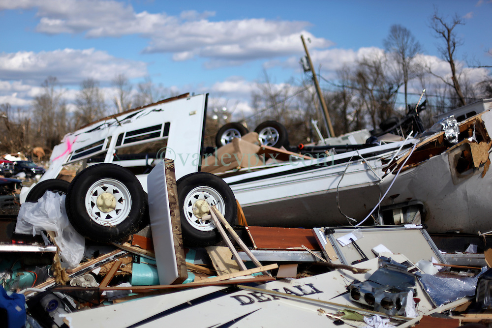 24 February 2016. Sugar Hill RV Park, Convent, Louisiana.<br /> Scenes of devastation following a deadly EF2 tornado touchdown. 2 confirmed dead. <br /> Flipped trailers and cars dot the landscape with people's personal effects dotting the landscape.<br /> Photo©; Charlie Varley/varleypix.com