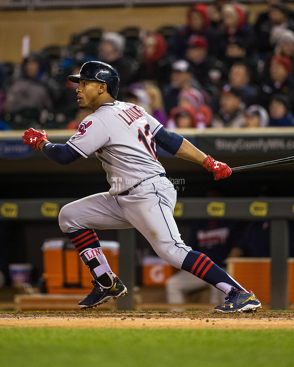 MINNEAPOLIS, MN- APRIL 27: Francisco Lindor #12 of the Cleveland Indians bats against the Minnesota Twins on April 27, 2016 at Target Field in Minneapolis, Minnesota. The Indians defeated the Twins 6-5. (Photo by Brace Hemmelgarn) *** Local Caption *** Francisco Lindor