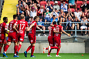 OSTERSUND, SWEDEN - JULY 21:  Hosam Aiesh of Ostersunds FK and Saman Ghoddos of Ostersunds FK celebrates after scoring during the Allsvenskan match between Ostersunds FK and Trelleborgs FF on July 21 at Jamtkraft Arena, 2018 in Gothenburg, Sweden. Photo by Johan Axelsson/Ombrello ***BETALBILD***