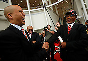Former Newark Mayor Sharpe James, RIGHT, and Cory A. Booker, Mayor, City of Newark, LEFT, greet each other following the Prudential Center Ribbon Cutting Opening Ceremony on October 7, 2007.