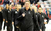 Irene Van Dyk leads the Silver ferns out, during New World Netball Series, New Zealand Silver Ferns v England at The ILT Velodrome, Invercargill, New Zealand. Thursday 6 October 2011 . Photo: Richard Hood photosport.co.nz