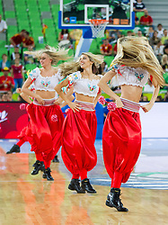 Cheerleaders Red Foxes perform during basketball match between National teams of Spain and Croatia in 3rd Place game at Day 19 of Eurobasket 2013 on September 22, 2013 in Arena Stozice, Ljubljana, Slovenia. (Photo by Vid Ponikvar / Sportida)