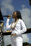 Brandy sings the National Anthem at the 2003 Pro Bowl, the NFL All-Star Game at Aloha Stadium in Hawaii on 02/02/2003. The  AFC intercepted 6 passes to defeat the NFC for the third year in a row, this time by a score of 45 to 20. ©Paul Anthony Spinelli
