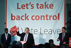 "© Licensed to London News Pictures . 15/04/2016 . Manchester , UK . BORIS JOHNSON speaks at a "" Vote Leave "" rally at Old Granada Studios , in Manchester . Photo credit: Joel Goodman/LNP"