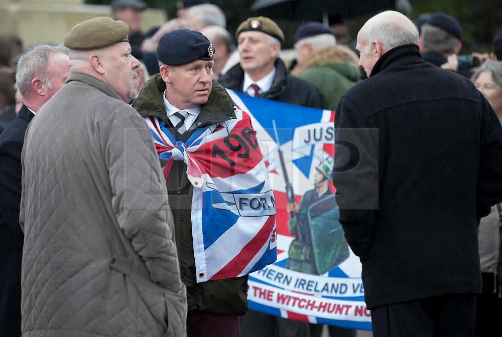 © Licensed to London News Pictures. 03/02/2018. London, UK. Former soldiers and their supporters take part in a Veterans for Justice March in central London .Photo credit: Peter Macdiarmid/LNP