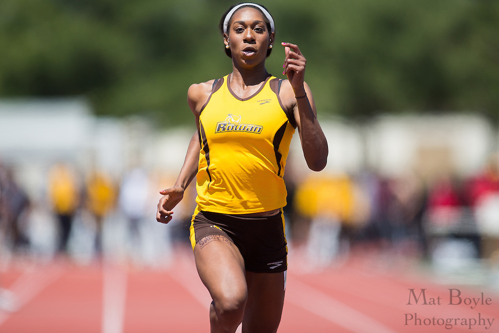 Rowan University freshman Shailah Williams wins the women's 100 meter dash at the NJAC Track and Field Championships at Richard Wacker Stadium on the campus of  Rowan University  in Glassboro, NJ on Sunday May 5, 2013. (photo / Mat Boyle)