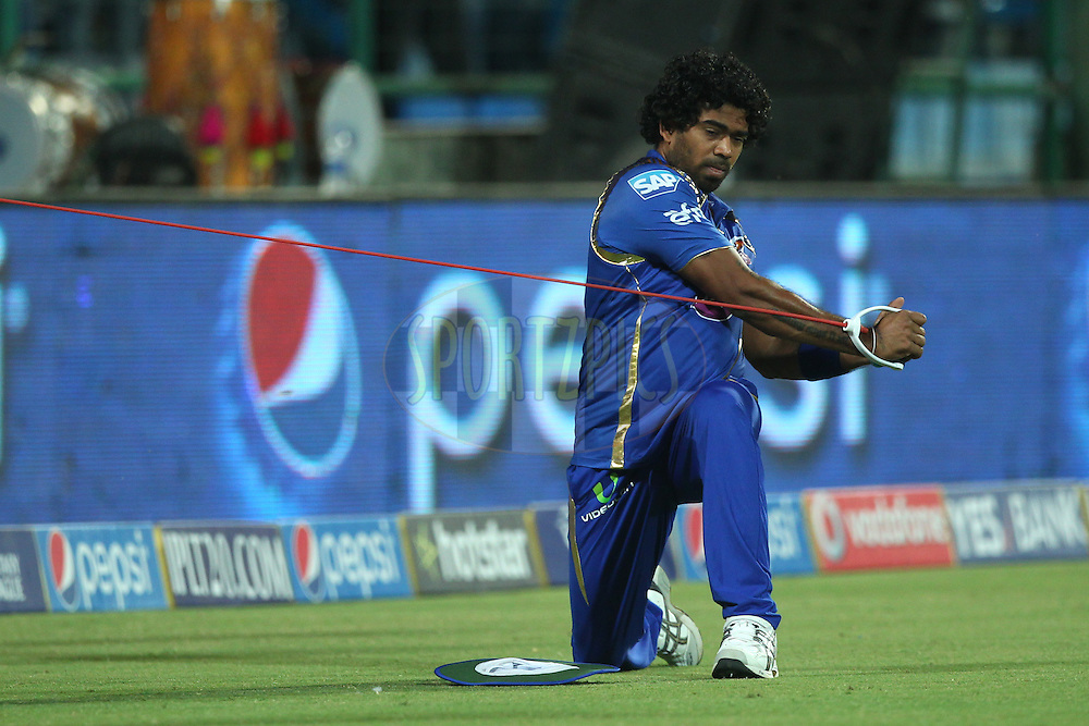 Lasith Malinga of the Mumbai Indians during the practice session before the match 21 of the Pepsi IPL 2015 (Indian Premier League) between The Delhi Daredevils and The Mumbai Indians held at the Ferozeshah Kotla stadium in Delhi, India on the 23rd April 2015.<br /> <br /> Photo by:  Deepak Malik / SPORTZPICS / IPL