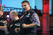 Gary Anderson hits a double and celebrates during the BetVictor World Matchplay Darts 2018 semi final at Winter Gardens, Blackpool, United Kingdom on 28 July 2018. Picture by Shane Healey.