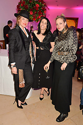 Left to right, CHARLOTTE TILBURY, EMILY SHEFFIELD and BAY GARNETT at the Alexandra Shulman and Leon Max hosted opening of Vogue 100: A Century of Style at The National Portrait Gallery, London on 9th February 2016.