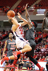08 November 2015: Paris Lee(1) stands strong for a block attempt on flying Alex Stein(20). Illinois State Redbirds host the Southern Indiana Screaming Eagles and beat them 88-81 in an exhibition game at Redbird Arena in Normal Illinois (Photo by Alan Look)