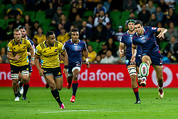 March 30, 2018 - Melbourne, VIC, U.S. - MELBOURNE, AUSTRALIA - MARCH 30 : Jack Debreczeni of the Melbourne Rebels  kicks the ball during Round 7 of the Super Rugby Series between the Melbourne Rebels and the Wellington Hurricanes on March 30, 2018, at AAMI Park in Melbourne, Australia. (Photo by Jason Heidrich/Icon Sportswire) (Credit Image: © Jason Heidrich/Icon SMI via ZUMA Press)