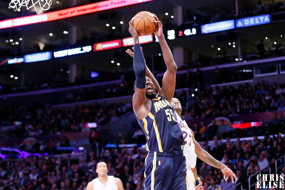 04 January 2014: Indiana Pacers center Roy Hibbert (55) grabs the rebound during the Los Angeles Lakers 88-87 victory over the Indiana Pacers, at the Staples Center, Los Angeles, California, USA.