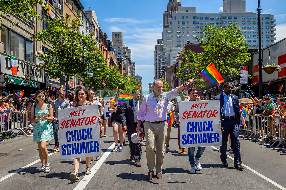 June 25, 2017 - New York, United States - Hundreds of participant attended the 47th anniversary of Pride March. Pride March NYC is a day of fun and celebration in the name of equality, attracting thousands of out-of-state visitors and brings them together with local residents, families, and community leaders. The first March was held in 1970 and has since become an annual civil rights demonstration. Over the years its purpose has broadened to include recognition of the fight against AIDS and to remember those we have lost to illness, violence, and neglect. The March is a celebration of our lives and our community. (Credit Image: © Erik Mcgregor/Pacific Press via ZUMA Wire)