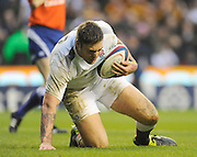 Twickenham, GREAT BRITAIN, Matt BANAHAN, recovering after scoring a second half try during the Investec,  Autumn International, Challenge Series, England vs Samoa, at Twickenham Stadium, Surrey on Saturday  20/11/2010   [ Mandatory Credit, Peter Spurrier/Intersport-images]