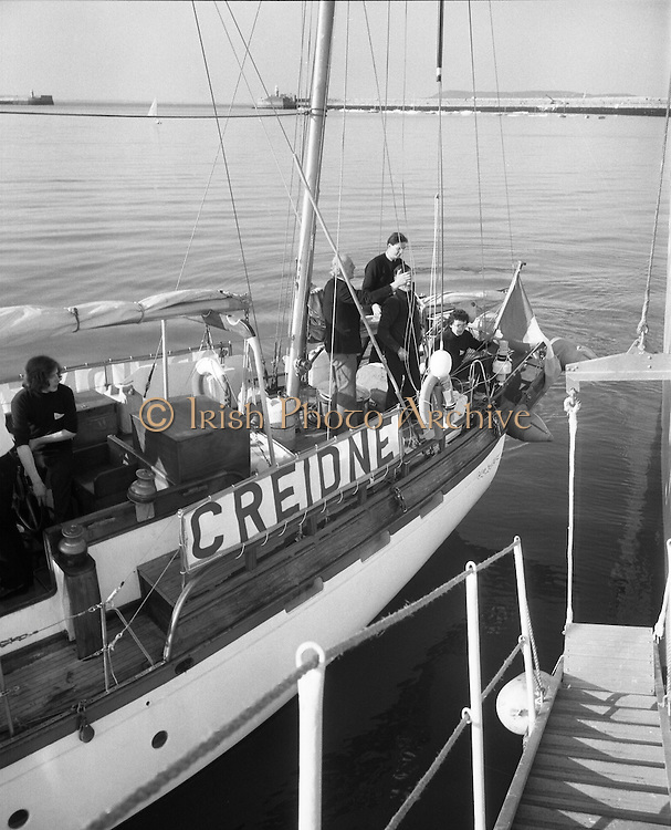 """Transatlantic Race - 'Creidne' Old Sailor .15/04/1976.04/15/1976.15th April 1976.The sail training vessel """"Creidne"""" leaves Dun Laoghaire to participate in the transatlantic races of sail training vessels organised to coincide  with the American Bicentennial Commemoration...Picture shows the """"Creidne"""" casting off from Dun Laoghaire harbour.  Originaly named Galcador, Creidne is a 48ft bermudan ketch built in Norway in 1967 as a private yacht."""
