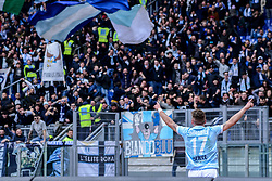 March 31, 2018 - Rome, Lazio, Italy - Ciro Immobile celebrates under the Curva Nord aftre score goal 4-2 during the Italian Serie A football match between S.S. Lazio and Benevento at the Olympic Stadium in Rome, on march 31, 2018. (Credit Image: © Silvia Lore/NurPhoto via ZUMA Press)