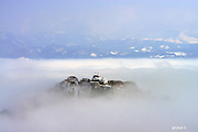 Castle in the Clouds<br /> Ono City, Fukui, Japan, called the Hokuriku region&rsquo;s little Kyoto, is overflowing with nature and tradition. It is a home to one of Japan&rsquo;s best fresh water springs and Shichiken asa'ichi, an early morning farmer&rsquo;s market that has been going on for 400 years. According to Ono City Hall&rsquo;s Mr. Shimizu, Ono City&rsquo;s Echizen Ono Castle has been garnering national attention of late, as &ldquo;The Castle in the Clouds.&rdquo; It earned this nickname due to the clouds that form about its base from sunrise until around 9 A.M. that make it appear as though it is floating in the sky. These clouds form when the day prior was humid, there is a big difference in temperature between noon the previous day and the morning, and the wind is not very strong. It is a rare event that only occurs 10 times a year, from fall through spring. <br /> &copy;28Lab/Exclusivepix Media