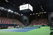 The Davis Cup (Tennis world cup) Israel Vs Slovenia Officials preparing the court