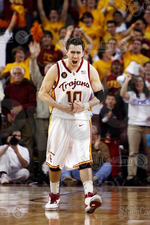 24 February 2007: Senior player #10 Chris Penrose reacts to a win after the NCAA Pac-10 Men's college basketball USC Trojans closes out its regular season at the Galen Center with a 84-66 win over the Cal Bears in Los Angeles, CA.