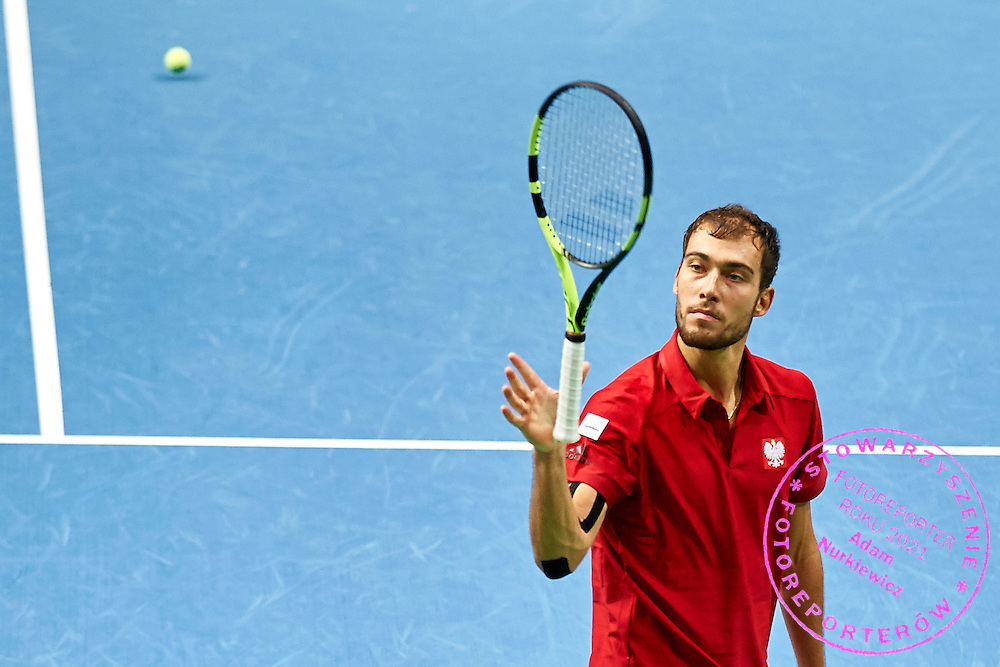 Jerzy Janowicz of Poland reacts after lost point during Davis Cup Tie World Group Play-off Poland v Slovakia at Gdynia Arena Hall in Gdynia, Poland.<br /> <br /> Poland, Gdynia, September 20, 2015<br /> <br /> Picture also available in RAW (NEF) or TIFF format on special request.<br /> <br /> For editorial use only. Any commercial or promotional use requires permission.<br /> <br /> Adam Nurkiewicz declares that he has no rights to the image of people at the photographs of his authorship.<br /> <br /> Mandatory credit:<br /> Photo by &copy; Adam Nurkiewicz / Mediasport