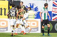 ARNHEM - Vitesse - FC Groningen , Voetbal , Eredivisie, Seizoen 2015/2016 , Gelredome , 03-10-2015 , Vitesse speler Dominic Solanke (l) scoort de 1-0 terwijl FC Groningen speler Hans Hateboer (r) baalt