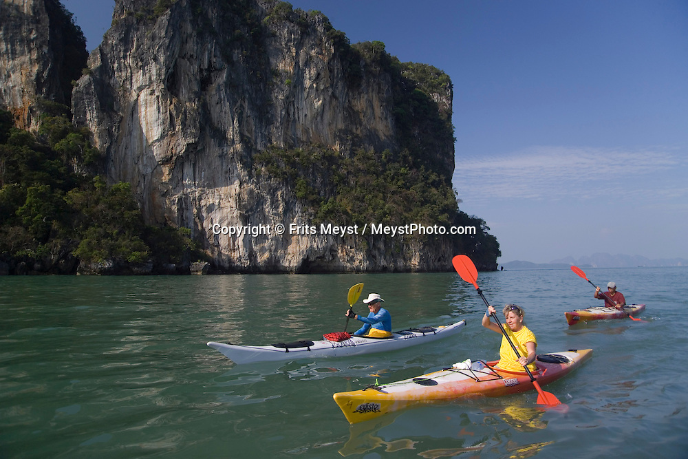 Phang Nga National Park, Thailand, February 2007. Travelling by kayak is the best way to reach the distant coves and hongs in the bay of Phang Nga National Park. Based from a homestay with a local family one paddles to a different direction everyday.  Photo by Frits Meyst/Adventure4ever.com