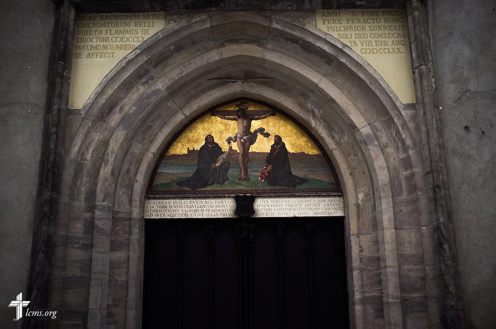 The replica door of the Evangelischen Schlosskirche (Castle Church) in Wittenberg, Germany, on Wednesday, January 29, 2014. In 1517, Martin Luther posted his 95 Theses on the door, sparking the reformation. LCMS Communications/Erik M. Lunsford