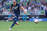 SYDNEY, NSW - JANUARY 12: Melbourne Victory forward Ola Toivonen (11) takes a shot at goal at the Hyundai A-League Round 13 soccer match between Melbourne Victory and Newcastle Jets at AAMI Park in VIC, Australia 12 January 2019. (Photo by Speed Media/Icon Sportswire)