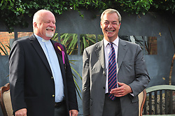 &copy; Licensed to London News Pictures. 03/06/2017<br /> Nigel Farage with Rev Stuart Piper after the talk.<br /> Nigel Farage speaking at a UKIP public meeting in Ramsgate,Kent at Townley Hall in support of UKIP Thanet candidate REV Stuart Piper.<br /> Photo credit: Grant Falvey/LNP