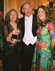 SIR JOHN & LADY BARRAN, she was co-chairman of the ball and their daughter MISS SUSIE BARRAN. at a ball in London on 14th April 1999.MRA 22