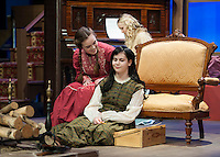 "Beth and Jo March (Jenny Burke and Calista Morris) and Amy March (Sophia Joyal) sitting behind during Tuesday evening's dress rehearsal for ""Little Women"" at the WInnipesaukee Playhouse in Meredith.  (Karen Bobotas/for the Laconia Daily Sun)"