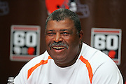 BEREA, OH - AUGUST 3:  Head Coach Romeo Crennel of the Cleveland Browns smiles while talking to the media during training camp at the Cleveland Browns Training and Administrative Complex on August 3, 2006 in Berea, Ohio. ©Paul Anthony Spinelli *** Local Caption *** Romeo Crennel