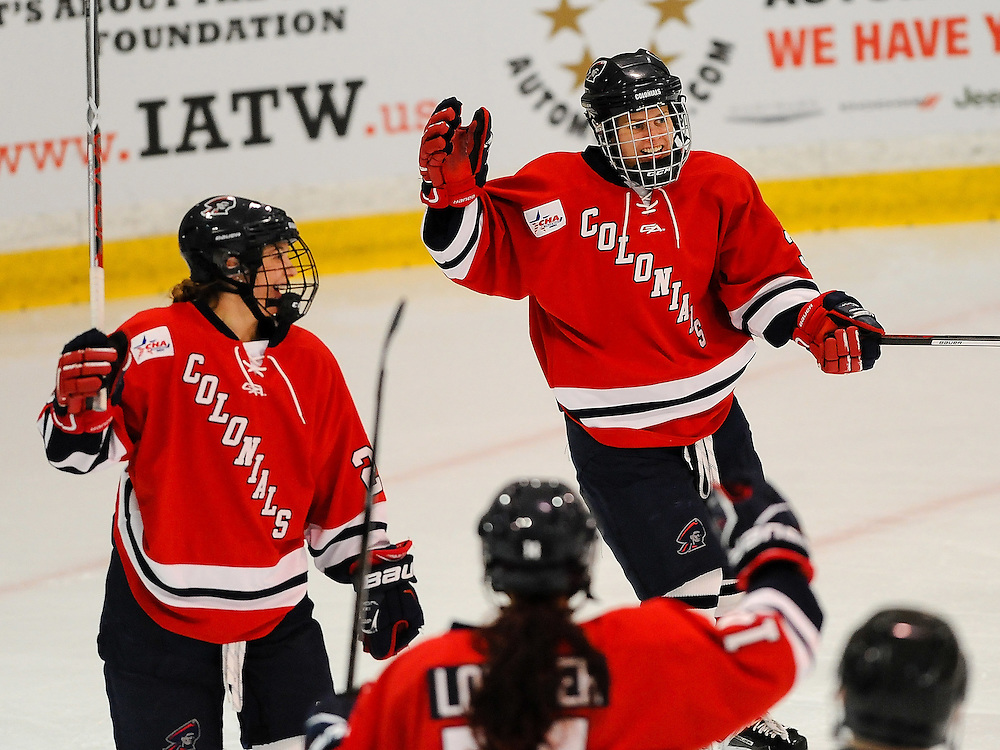 PITTSBURGH, PA - OCTOBER 15:  Brittany Howard #3 of the Robert Morris Colonials celebrates her goal with teammates in the first period during the game against the Vermont Catamounts at 84 Lumber Arena on October 15, 2016 in Pittsburgh, Pennsylvania. (Photo by Justin Berl)