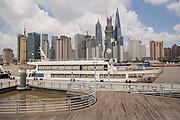 Skyline view from Fuxing Wharf along the Huangpu River Shanghai, China