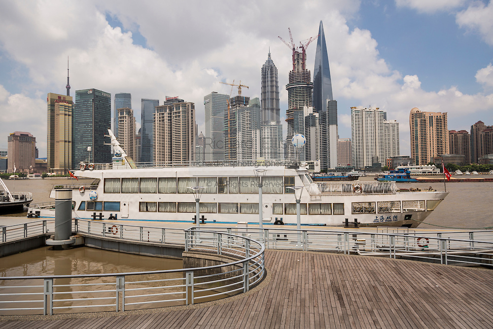 Skyline view from Fuxing Wharf along the Huangpu River Shanghai, China