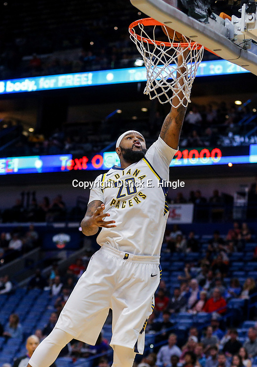 Mar 21, 2018; New Orleans, LA, USA; Indiana Pacers forward Trevor Booker (20) shoots against the New Orleans Pelicans during the first quarter at the Smoothie King Center. Mandatory Credit: Derick E. Hingle-USA TODAY Sports