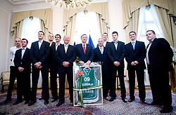 Jure Zdovc, Miro Alilovic, Goran Jagodnik, Mario Kraljevic, Domen Lorbek, Dusan Sesok, Danilo Turk, Iztok Rems, Uros Slokar, Jaka Klobucar, Tomo Mahoric and Matej Avanzo of Slovenian basketball national team after Eurobasket 2009 at reception at president of Slovenia dr. Danilo Türk,  on September 28, 2009, in Presernova 8, Ljubljana, Slovenia.  (Photo by Vid Ponikvar / Sportida)