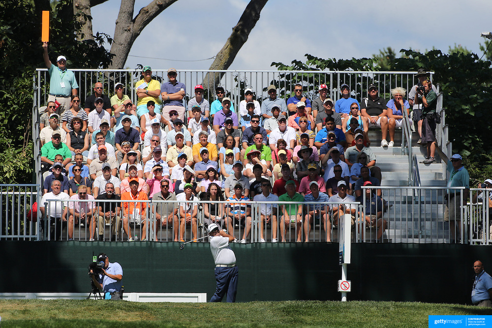 Angel Cabrera, Argentina,  tees off from the first hole during the fourth round of theThe Barclays Golf Tournament at The Ridgewood Country Club, Paramus, New Jersey, USA. 24th August 2014. Photo Tim Clayton