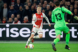 Donny van de Beek #6 of Ajax and David Soria #13 of Getafe in action during the Europa League match R32 second leg between Ajax and Getafe at Johan Cruyff Arena on February 27, 2020 in Amsterdam, Netherlands