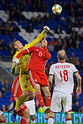 CARDIFF, WALES - Monday, September 9, 2019: Wales' Gareth Bale challenges Belarus' goalkeeper Maksim Plotnikau during the International Friendly match between Wales and Belarus at the Cardiff City Stadium. (Pic by David Rawcliffe/Propaganda)