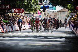 Sprint to victory with Jack Bauer (NZL) of Garmin Sharp and Alexander Kristoff (NOR) of Team Katusha , Tour de France, Stage 15: Tallard / Nîmes, UCI WorldTour, 2.UWT, Nîmes, France, 20th July 2014, Photo by BrakeThrough Media