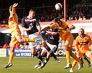 Dundee's Colin Nish  comes close with a header - Dundee v Motherwell, Clydesdale Bank Scottish Premier League at Dens Park.. - © David Young - 5 Foundry Place - Monifieth - DD5 4BB - Telephone 07765 252616 - email: davidyoungphoto@gmail.com - web: www.davidyoungphoto.co.uk